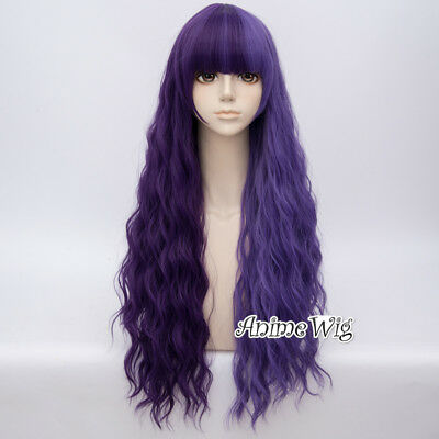 Country Lolita Women Fashion 78cm Long Curly Mixed Purple Party Cosplay Wig+Cap