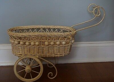 Vintage Wicker Rattan Wood Wrought Iron Baby Doll Babydoll Carriage Stroller