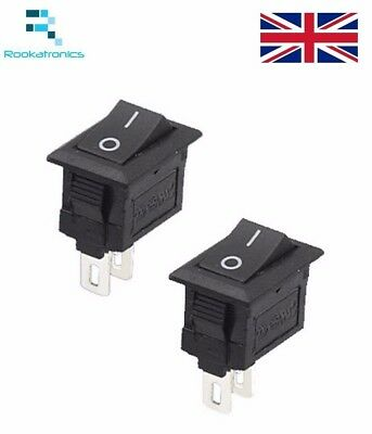 New 15mm X 10mm  SPST Small Rectangular Rocker Switch Black 2 Pin ON-OFF 250V