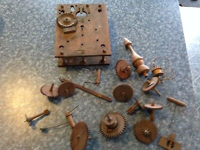 OLD Wooden Clock Case & Wooden Gears