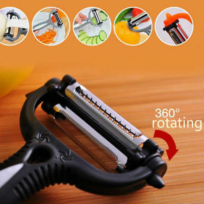 Stainless Steel Rotary Potato Peeler Vegetable Fruit Cutter Kitchen 3 Blade DO