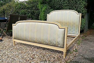 French vintage upholstered Empire bed 4ft6ins UK standard size Double Bed +BASE