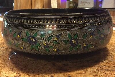 "VTG 12"" X 4"" Large BLACK LACQUERWARE Bowl Hand Painted Green/Blue Floral EUC"