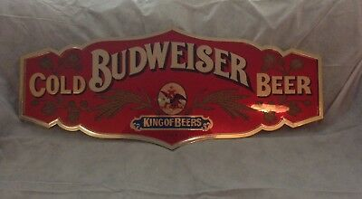 Vintage Large Budweiser Cold Beer Sign - Man Cave Bar Tavern Advertising