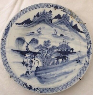 Antique Willow Chinese Unmarked Plate Very Heavy