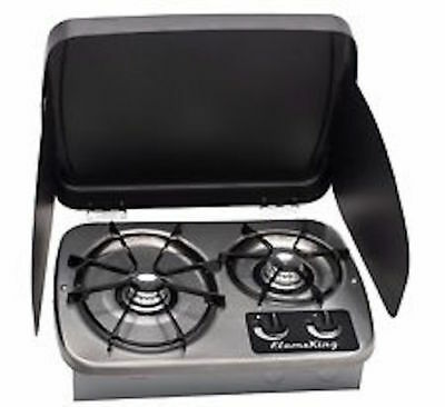 RV LP Gas Drop-In 2 Burner Cook top Stove Stainless Steel W/Cover Atwood Like