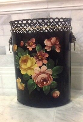 Vintage Hand Painted Metal Black Pink & Yellow Roses Tole Toleware Trash Can Bin