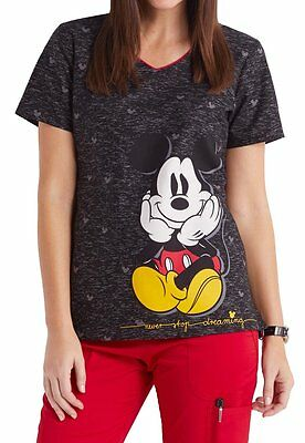 Cherokee Tooniforms Scrubs Mickey Mouse Never Stop Dreaming Top Sz S-XXL NWT