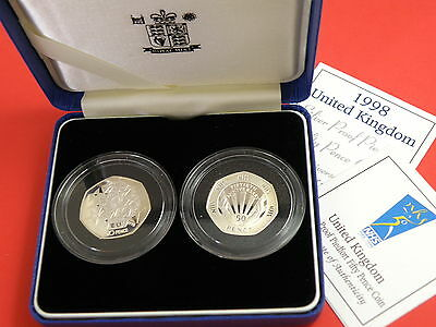 1998 Royal Mint - SILVER PIEDFORT PROOF FIFTY PENCE 2 - COIN SET -- EEC & NHS