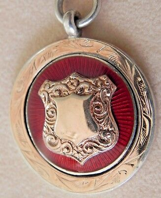 Art Deco Sterling Silver, Rose Gold & Guilloche Enamel Watch Fob Medal c:1929