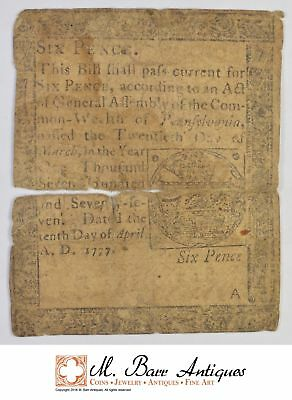 1772 6 Pence Pennsylvania Colonial Currency *393