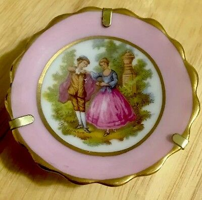 French Limoges Miniature Plate - Pink W/ Gold Accent - Fragonard