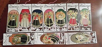 Vintage Chinese Paper Cut Bookmarks Chinese Opera Facial Mask c1960 VERY RARE
