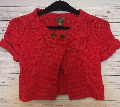 Girls Size 5/6 M Cable Knit Red Button Shrug Short Sleeve Comfort Sweater (E)