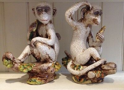 A Pair Of Continental Porcelain Monkeys.