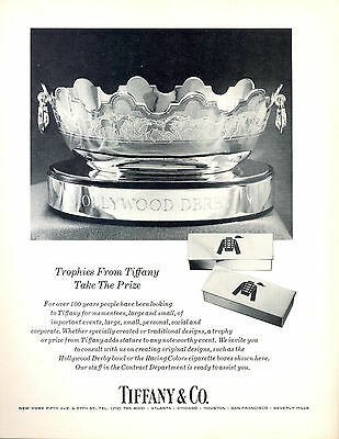 Vintage Tiffany Trophy Original Ad Hollywood Derby Equestrian Horse Interest