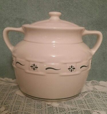 Longaberger Pottery Heritage Green 2 Handle Cookie Jar / Bean Pot - Pre owned