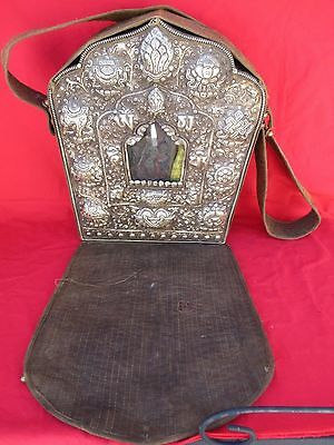 Antique Tibetan Silver & Copper Repousse' Embossed Ghau Buddhist Prayer Box 15""
