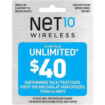 Net10 Wireless $40 Monthly Unlimited Plan Refill!