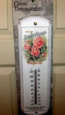 Scott's Roses & Other Beautiful Flowers Garden-Metal Thermometer`New->Free To US