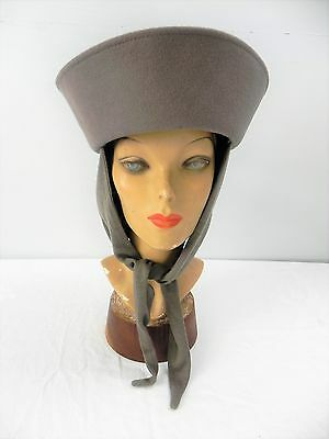 DO-Vintage 60s NWT taupe cossack turban cloche hat+ attached scarf- WEAR 6 WAYS