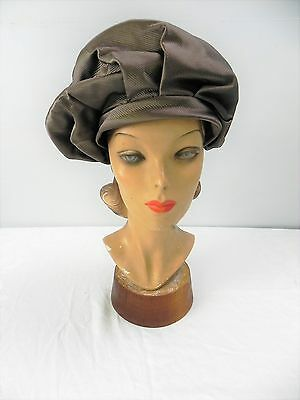 DS- Vintage 50s-60s Gene Kittrell blush taupe faille sculptural chefs beret hat