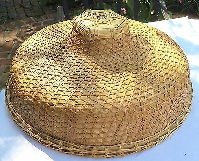 Vtg Asian Bamboo Straw Chinese Japan Sun Rice Peasant Vietnam Hat Farmer Fishing