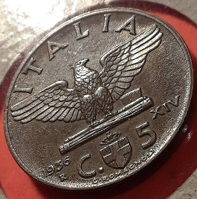 Key date Italy 1936 5 centimes uncirculated BU brown coin