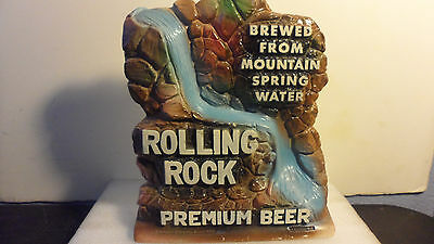 "ROLLING ROCK PREMIUM BEER CHALK WATERFALL BACK BAR ADVERTISING SIGN  11""x9"""