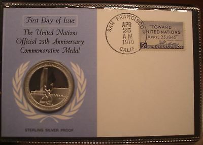Franklin Mint United Nations 25th Anniversary Commemorative Medal Sterling