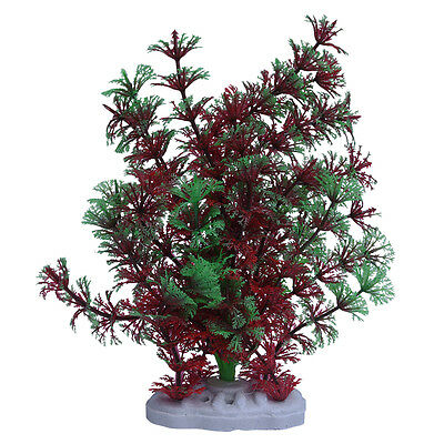 Red Green Artificial Plastic Water Plants for Fish Tank Aquarium Decoration P6J5