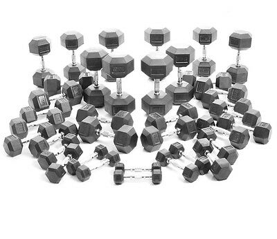 BodyPower™ Rubber Hex Dumbbells: Solid Ergo: 1kg to 30KG Weight Pairs