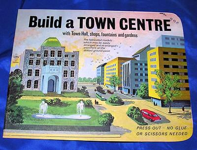 RARE VTG PUNCH OUT CARDBOARD MODEL Build Town Centre GRT XMAS PUTZ Downtown