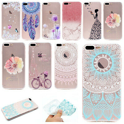 Cute Painted Clear Soft TPU Silicone Back Case Cover Skin For iPhone 6s 7 8 Plus