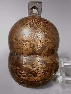 RARE China Chinese Brass or Bronze Bell w/ Gilt Decor Xianfeng Mark ca. 19th c.