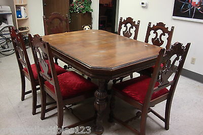 Antique Dining Set Table, Chairs & Captain's Chair