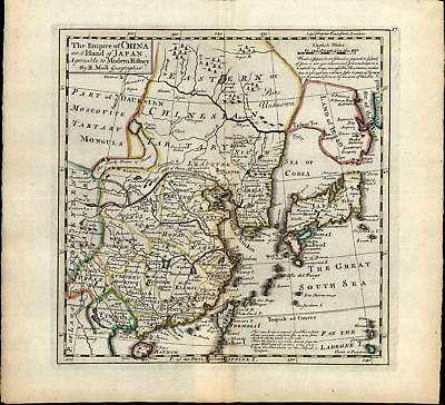 Empire of China Japan Korea Land of Jesso 1732 Moll rare large antique map
