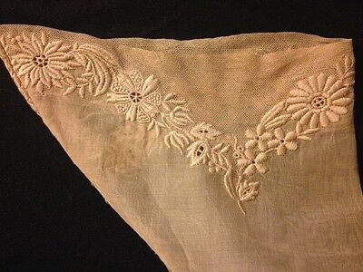 Two Lovely Antique Cuffs Needlework on Veil & Organza  Beautiful Floral Motif
