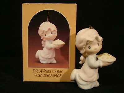 Precious Moments Ornaments-Girl w/Pie-Dropping Over For Christmas-Fish Mark