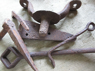 Antique Blacksmith Made Hand Forge Iron Hook Pintle Hinge Barn Door Hardware LOT