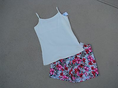 Justice Nwt Girls Sz 12 Outfit - Tank Top & Shorts - Hawaiian Print - So Pretty!