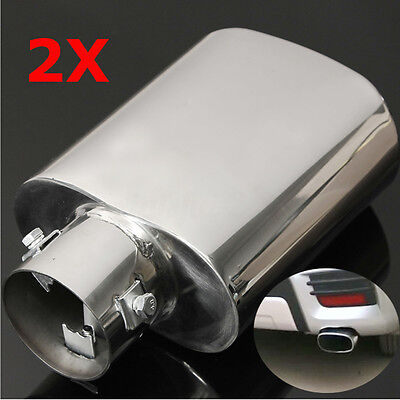 2X Sport Chrome Universal Stainless Steel Exhaust Tail Trim Tip Pipe Muffler Uk
