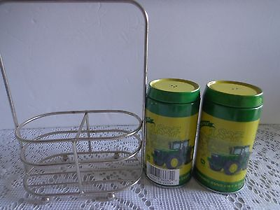 NWT John Deere Salt and Pepper Shakers Tin With Metal Carrier
