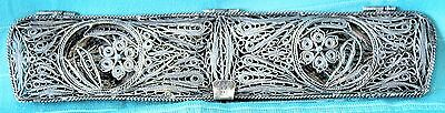Vintage 900 Silver HINGED COMB CASE BOX, Cannetille Filigree Spun-Peru-112 Grams