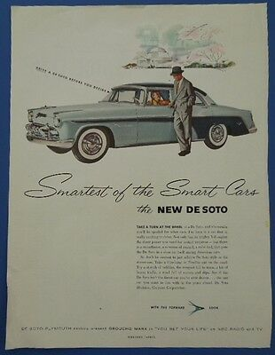1955 Vintage Holiday Magazine Ad De Soto Fireflite With The Forward Look