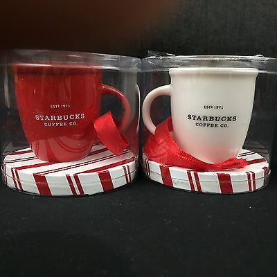 Starbucks Mini Cups Abbey Ornaments Christmas 2002 White Red Set Of 2 New In Pkg
