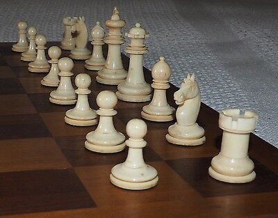 Fine Quality Antique Germany Hand Turned Mutton Bone Staunton Style Chess Set