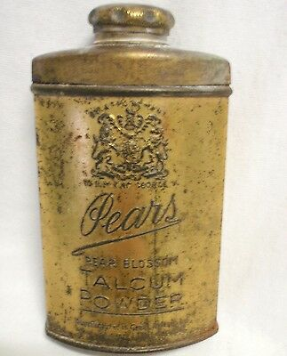 Vintage Metal Tin - Pears Talcum Powder Gold Colour King George V Pears Soap Gb