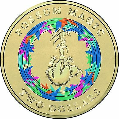 Australian Two Dollar $2 - 2017 - POSSUM MAGIC Coloured coin - Invisible - Mint