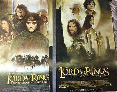 2 Promo Lord Of The Rings Fellowship & Two Towers Original Posters Movie